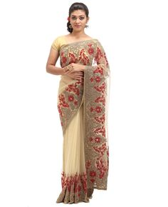 Net fabric fancy saree. Body is golden net with golden stones. Border has heavy red stones and antique stones. Pallu is golden net with golden stones with saree border. Blouse has unique designs, work with stones also on the sleeves.