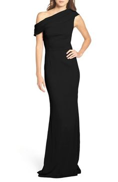 Nordstrom's Katie May Pleat One Shoulder Crepe Gown