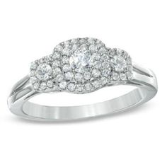 1/2 CT. T.W. Diamond Double Frame Three Stone Ring in 10K White Gold