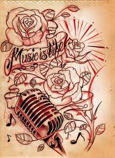 """""""Music is life"""" thigh tattoo"""