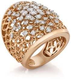 Cellini Jewelers Gold Mesh Band Ring with Diamonds