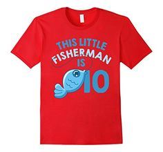 This Little Fisherman Is 10 Years Old T-shirt Birthday 10th