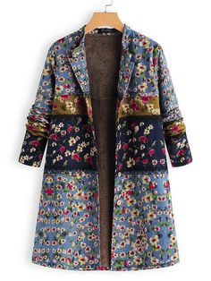 39bf5e2128b8 New In- Vintage Floral Long Sleeve Lining Coat S-5XL 46% OFF Now