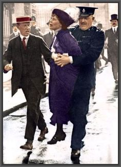 """Emmeline Pankhurst, leader of the militant suffragettes of London is arrested in 1912 for inciting disgruntled suffragettes to smash shop windows in all of the city's best neighborhoods in March 1912! Read the story and find out what happened next in """"Two Presidential Mistresses and the Battle for Votes-for-Women"""" Photo COLORIZED by CoffeebreakReaders. Buy the book!"""