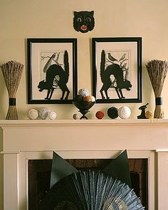 Black Cat Silhouettes    Use double-sided tape to place these cats where guests might least expect to find them -- whether they're ready to jump out of two framed prints or hiding in the window.