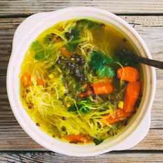 Squash Noodle Soup with Healing Turmeric-Ginger Broth, Roasted Carrots and Beluga Lentils | Food & Wine