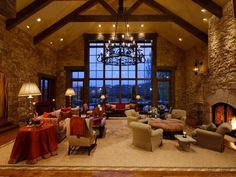 great rooms with fireplaces | The great room has vaulted ceilings and a gas fireplace.