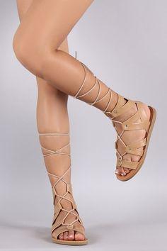 f2cf7903cfd3 Soda Strappy Gladiator Lace Up Flat Sandal