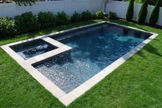 Classic Rectangle Pool and Spa Design.rectangle pool above ground with deck swimming trilogy shaped raised spillover spa swim world pools re.Rectangle pool with spa, mosaic tile, fire element… Backyard Pool Landscaping, Backyard Pool Designs, Small Backyard Pools, Backyard Ideas, Landscaping Ideas, Landscaping Equipment, Stone Landscaping, Spa Design, Small Pool Design