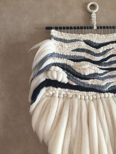 Wild Salt Spirit: Soumak weave merino wool wall hanging by Mrs. Wool Wall Hanging, Weaving Wall Hanging, Weaving Art, Tapestry Weaving, Loom Weaving, Hand Weaving, Wall Hangings, Textiles, Textile Fiber Art