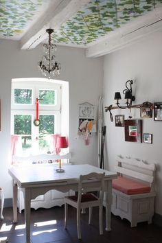 Dining room in one of the apartments in Siedlisko, Blanki 46, Poland www.siedliskoblanki.com