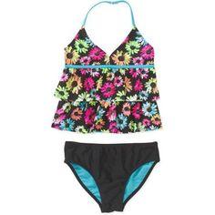 Op Girls' Tankini Daisy Pop, Size: 4/5, Black