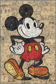 "pedro madeira pinto ""mickey mouse homage"", 2013 collage on canvas, 120x80cm"