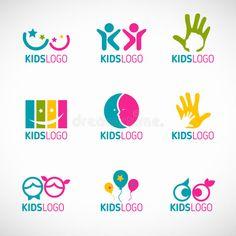 Illustration about Kids logo vector set design. Illustration of design, happy, care - 64763652 Preschool Logo, Kindergarten Logo, 2 Logo, Logo Branding, Branding Design, Branding Ideas, Best Logos Ever, Daycare Logo, Childrens Logo