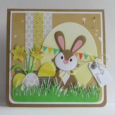 Non Die Cut Toppers pour Cartes ou Artisanat-Marianne lapins de Pâques
