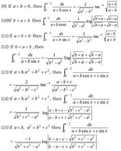 Definite Integrals - A Plus Topper Algebra Formulas, Physics Formulas, Physics Concepts, Physics And Mathematics, Maths Algebra, Calculus, Trigonometry Worksheets, Math Formula Chart, Statistics Math