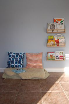 reading corner...love books are organized and at child-height