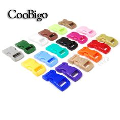 "100pcs Mixed Colorful 3/8"" Plastic Hardware Paracord Bracelet Buckles Curved Dog Cat Collar Webbing Outdoor Kits#FLC003-C(Mix-s)"