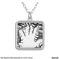 The Hand In The Tentacles Square Pendant Necklace