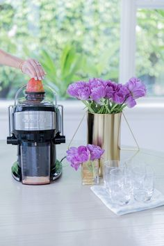 A beautiful start to the day… everything to host breakfast at home. Here in my photos I focused on my new obsession in particular, juicing! The Cuisinart® Compact Juice Extractor is so easy, my kids love making our morning juices! By Fashionable Hostess