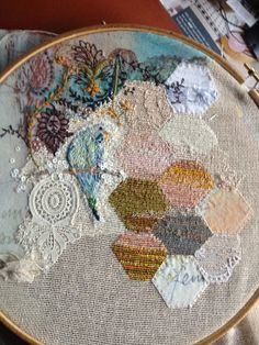 Stitching and painting and incorporating of other textures and fibres... so beautiful by Claire A Baker