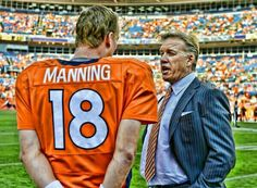 Manning and Elway Denver Broncos Peyton Manning, Denver Broncos Baby, Go Broncos, Broncos Fans, Broncos Stadium, Cry Like A Baby, John Elway, Different Sports, Sports Photos