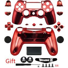 Red Chrome Plating Repair Parts ABS Full Housing Shell Case Button Kit +Gifts For PS4 DUALSHOCK 4 Wireless Controller