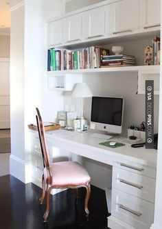 Sweet - built in desk - filing cabin and drawers, upper storage | CHECK OUT MORE FIREPLACE IDEAS AT DECOPINS.COM | #homeoffice #office #home #officedecor