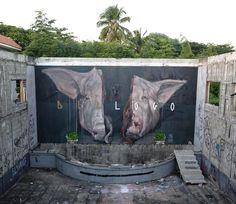 New mural collab + Axel Void for Artesano Project - Rio San Juan, Dominican Republic - Dec 2014 Amazing Street Art, Best Street Art, Street Art News, Street Artists, Urban Graffiti, Street Art Graffiti, Installation Street Art, Funky Art, Mural Art