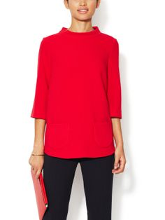 Crepe Standing Collar Tunic by Pink Tartan at Gilt