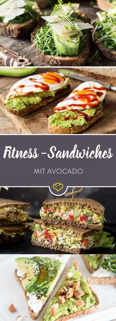Schluss mit traurigen Stullen aus labbrigem Toast und einer einsamen Scheibe Kä… No more sad tales of sloppy toast and a lonely slice of cheese or sausage. These 10 avocado sandwiches are your new fitness snack. Fitness Snacks, Healthy Snacks, Healthy Eating, Fitness 24, Healthy Food To Lose Weight, Lunch Snacks, Diet Snacks, Fitness Tracker, Fitness Tips