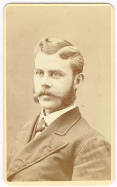 Mutton Chop Mustache Man in Boston Massachusetts by A N Hardy 1870's CDV.