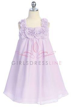 Lilac Chiffon Flower Short Girl Dress CC-611-LC $44.95 on www.GirlsDressLine.Com