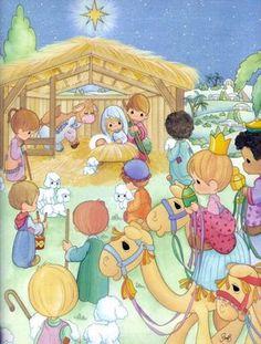 Precious Moments Coloring Pages, Precious Moments Quotes, Precious Moments Figurines, Christmas Scenes, Christmas Pictures, Christmas Art, Birth Of Jesus Christ, Crochet Humor, Scripture Art
