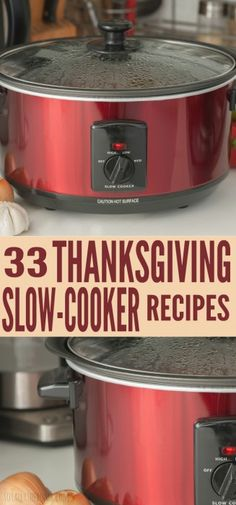 Here are 33 Thanksgiving Slow-Cooker Recipes that will save you time and that taste amazing! Prepare your one dish Thanksgiving dinner with the best slow cooker recipes ever! You can even find some healthy slow cooker recipes! Save this pin for later! Crock Pot Food, Crockpot Dishes, Crock Pot Slow Cooker, Slow Cooker Recipes, Cooking Recipes, Crockpot Meals, Freezer Meals, Easy Meals, Thanksgiving Potluck