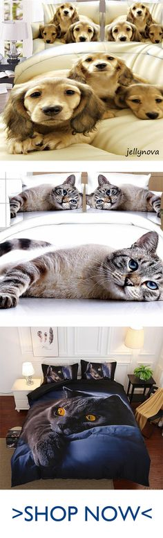 45% off, 4 pcs 3D Cat Printing Bedclothes Bedding Decor Winter Comfortable Bedding Sets Shoe Storage Bags, Car Sofa, Knit Rug, Cushions For Sale, Bed Socks, Round Beds, Bedclothes, Under Bed, Cleaners Homemade