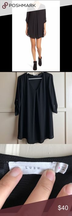 Lush black dress Worn once, in mint condition. Flowy chiffon dress with rolled up sleeves with button. Very cute and pairs with anything. Lush Dresses Midi