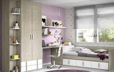 Habitación juvenil con cama compacta, armario y escritorio Closet Designs, Teen Bedroom, Corner Desk, Shelves, House Design, Mansions, Furniture, Home Decor, Kids Rooms