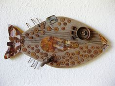 Reclaimed Barn Wood and Salvaged Metal Found Object Assemblage Art Fish