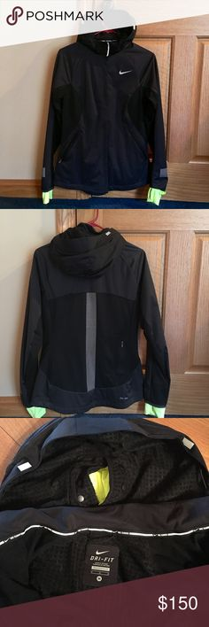 Nike Women's Shield Max Jacket Nike Women's Shield Max Running Jacket. Worn once, it is basically brand new and in perfect condition. Mix of Dri-Fit, mesh, and water repellent material to manage sweat while protecting you from wet and cold weather. Removable face mask and zip off hood with ponytail hole to keep you warm even in the coldest conditions. Thumb holes. Zippered pockets on sides and back. Reflective elements to stay visible even in low light.  This is a fantastic jacket, only…
