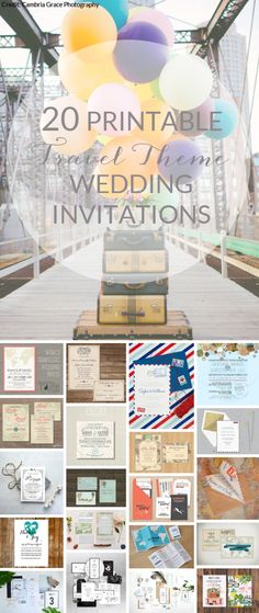 20 Printable Travel Theme Wedding Invitations | SouthBound Bride | http://www.southboundbride.com/20-printable-travel-theme-wedding-invitations