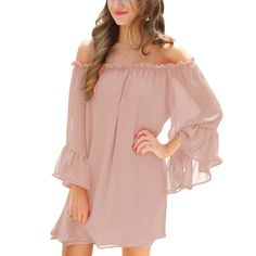 Flare Sleeves Women Sexy Off Shoulder Long Sleeve Chiffon Pink Mini Dress  vestidos mujer Pink Mini 31b02ceb3a7e