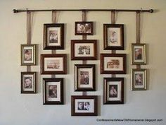 Curtain rod and pictures frames attached to ribbon