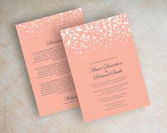 Peach and gray polka dot wedding invitations, twinkling lights, glitter wedding invitation, coral, grey, modern, shimmer invitations, Glitter by www.appleberryink.com