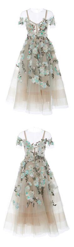 New Arrival A-Line Off-Shoulder Tea-Length Prom Dress with Appliques