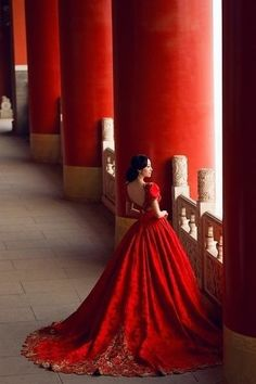 Red gown.