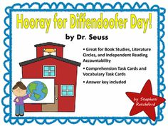 Hooray for Diffendoofer Day by Dr. Seuss Boook Study with Comprehension and Vocabulary Task Cards