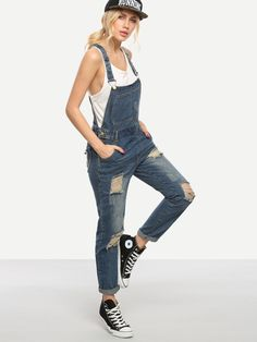 Shop Ripped Blue Denim Overalls online. SheIn offers Ripped Blue Denim Overalls & more to fit your fashionable needs.