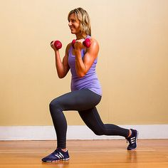 Grab a set of dumbbells and try this basic lunge with a boost! This move not only works your glutes, hamstrings, and quads, but it also tones your biceps.   Stand upright, feet together, holding two dumbbells (five to 10 pounds) at your sides. Take a