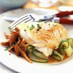 Cod fillet with mushrooms and courgettes